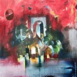 abstract landscape, 24 x 30 inch, d.s. chougale,abstract paintings,canvas,oil,24x30inch,GAL0320633