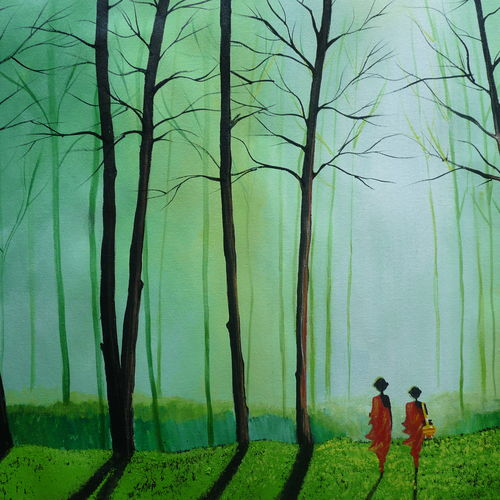 into the mist, 36 x 20 inch, shaifali agarwal,landscape paintings,paintings for living room,conceptual paintings,religious paintings,canvas,acrylic color,36x20inch,GAL024136334
