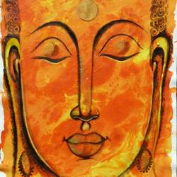 buddha , 12 x 16 inch, shaifali agarwal,buddha paintings,paintings for living room,canvas,acrylic color,12x16inch,religious,peace,meditation,meditating,gautam,goutam,buddha,orange,face,smiling,GAL024136339