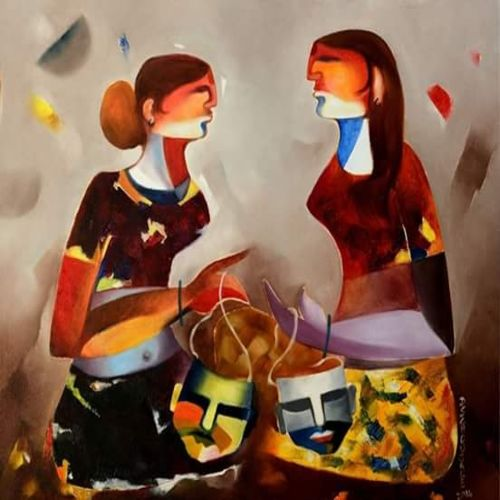 devdasi sisters, 30 x 36 inch, d.s. chougale,modern art paintings,religious paintings,canvas,oil,30x36inch,GAL0320634