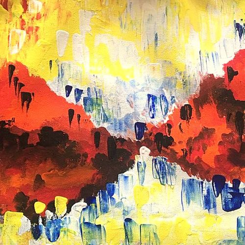 abstract art 4: joyful mind, 20 x 12 inch, seema agrawal,abstract paintings,paintings for living room,paintings,canvas,acrylic color,20x12inch,GAL018596341