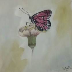 butterflies , 8 x 8 inch, priyamvada  agarwal ,nature paintings,paintings for living room,cartridge paper,mixed media,8x8inch,GAL024196346Nature,environment,Beauty,scenery,greenery,flower,butterfly