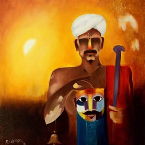 warkari, 30 x 36 inch, d.s. chougale,modern art paintings,canvas,oil,30x36inch,GAL0320635