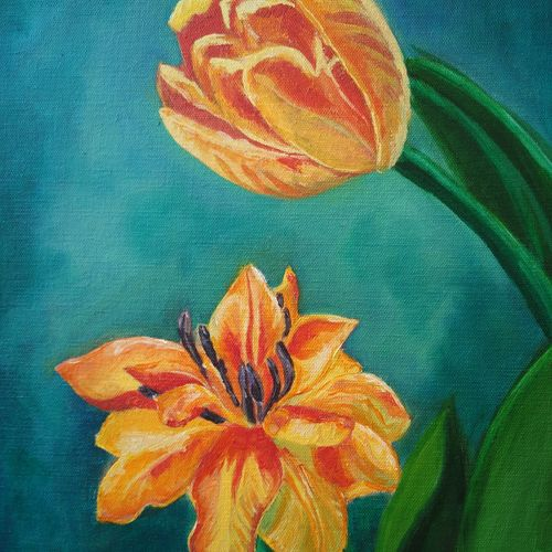 wild lilly, 12 x 16 inch, malvika awasthi,flower paintings,paintings for living room,canvas,oil,12x16inch,GAL023976353