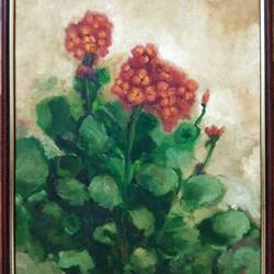 geranium , 12 x 16 inch, malvika awasthi,flower paintings,paintings for living room,canvas,oil,12x16inch,GAL023976355