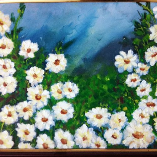 daisies, 10 x 12 inch, malvika awasthi,flower paintings,paintings for living room,canvas,oil,10x12inch,GAL023976357