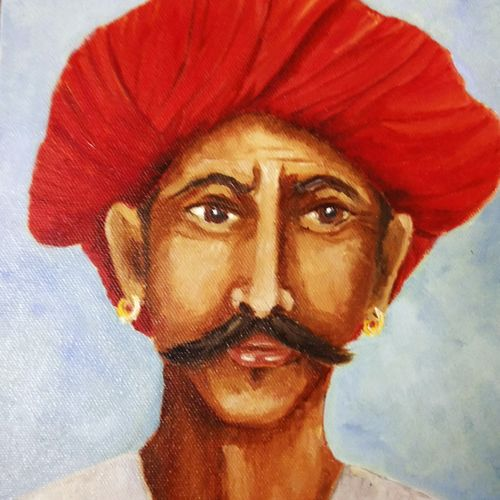 rajasthani portrait, 8 x 10 inch, malvika awasthi,portrait paintings,paintings for living room,canvas,oil,8x10inch,GAL023976358