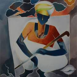 shankha siddha, 30 x 36 inch, d.s. chougale,modern art paintings,canvas,oil,30x36inch,GAL0320636
