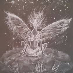 stardust falling, 12 x 16 inch, vineetha  j.malayil ,figurative drawings,paintings for bedroom,paper,pencil color,12x16inch,GAL020176360