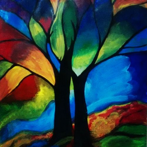 rainbow forest, 13 x 17 inch, neha gupta,abstract paintings,paintings for living room,paper,acrylic color,13x17inch,GAL023466362