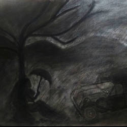 lonely rainy day -handmade compressed charcoal on canvas, 20 x 16 inch, rickin patel,paintings for living room,cityscape paintings,canvas,charcoal,20x16inch,GAL021606364