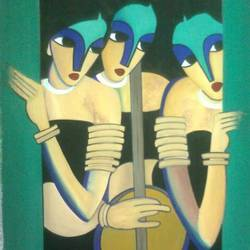 bandhishein, 19 x 14 inch, pooja maurya,abstract paintings,paintings for living room,hardboard,mixed media,19x14inch,GAL024166366