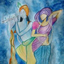 radhe kishna, 12 x 16 inch, pooja maurya,abstract paintings,paintings for living room,drawing paper,mixed media,12x16inch,GAL024166367