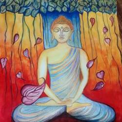 enlightenment of lord buddha, 12 x 16 inch, pooja maurya,buddha paintings,paintings for living room,thick paper,mixed media,12x16inch,religious,peace,meditation,meditating,gautam,goutam,buddha,tree,leafs,grey,orange,praying,GAL024166368