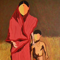 mother and child, 24 x 36 inch, bobby bangalore,figurative paintings,paintings for living room,canvas,acrylic color,24x36inch,GAL024286372