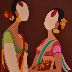 women - friends, 24 x 36 inch, bobby bangalore,figurative paintings,paintings for living room,canvas,acrylic color,24x36inch,GAL024286373