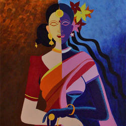 women - day and night, 24 x 36 inch, bobby bangalore,figurative paintings,paintings for living room,canvas,acrylic color,24x36inch,GAL024286374