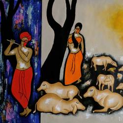 the music beckons, 36 x 26 inch, chetan katigar,figurative paintings,paintings for dining room,canvas,acrylic color,36x26inch,GAL02666376