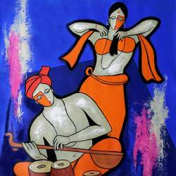 musical couple, 30 x 34 inch, chetan katigar,figurative paintings,paintings for dining room,canvas,acrylic color,30x34inch,GAL02666379