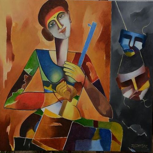 devdasi, 30 x 36 inch, d.s. chougale,modern art paintings,religious paintings,canvas,oil,30x36inch,GAL0320638