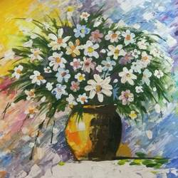 flower vase, 16 x 12 inch, poonam singhal,flower paintings,paintings for living room,canvas,acrylic color,16x12inch,GAL024366392