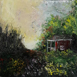 no-man's shed, 8 x 8 inch, rambling tiger,modern art paintings,paintings for living room,canvas,oil paint,8x8inch,GAL08866397