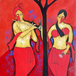 couple 6, 26 x 26 inch, chetan katigar,figurative paintings,paintings for dining room,canvas,acrylic color,26x26inch,GAL02666402