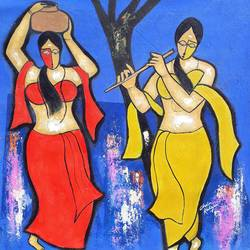 sakhi, 27 x 27 inch, chetan katigar,figurative paintings,paintings for living room,canvas,acrylic color,27x27inch,GAL02666403
