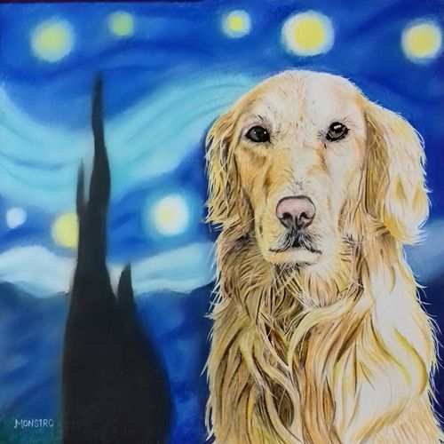 the dog and the starry night , 12 x 12 inch, monsieur monstro,photorealism drawings,paintings for living room,dog painting,canson paper,pencil color,12x12inch,GAL024186404