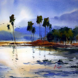 village pond, 23 x 15 inch, prasanta maiti,landscape paintings,paintings for bedroom,water fountain paintings,paper,watercolor,23x15inch,GAL024456407