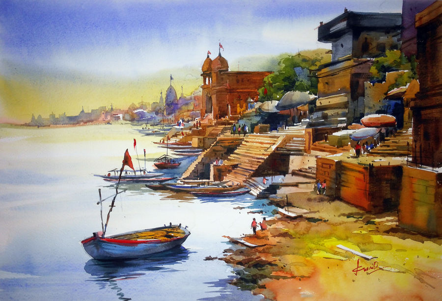varanasi01, 23 x 15 inch, prasanta maiti,realistic paintings,paintings for bedroom,paper,watercolor,23x15inch,GAL024456409