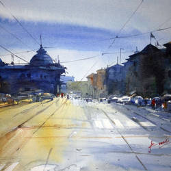 cityscape, 16 x 12 inch, prasanta maiti,cityscape paintings,paintings for bedroom,paper,watercolor,16x12inch,GAL024456410