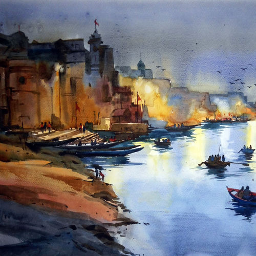 early morning, 20 x 14 inch, prasanta maiti,realistic paintings,paintings for bedroom,paper,watercolor,20x14inch,GAL024456411