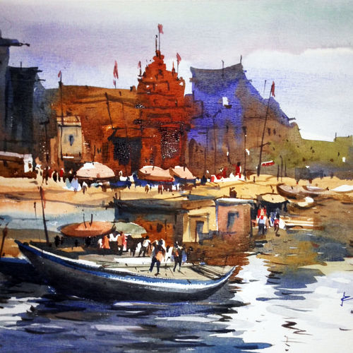 varanashi01, 17 x 12 inch, prasanta maiti,landscape paintings,paintings for bedroom,canson paper,watercolor,17x12inch,GAL024456413
