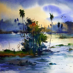 village pond01, 22 x 15 inch, prasanta maiti,landscape paintings,paintings for living room,water fountain paintings,handmade paper,watercolor,22x15inch,GAL024456415