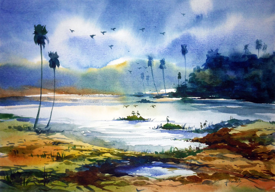 village pond02, 17 x 12 inch, prasanta maiti,landscape paintings,paintings for dining room,water fountain paintings,canson paper,watercolor,17x12inch,GAL024456416