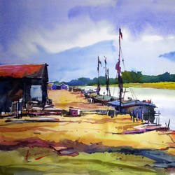 river, 22 x 15 inch, prasanta maiti,landscape paintings,paintings for living room,paper,watercolor,22x15inch,GAL024456417