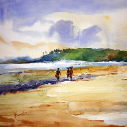kashid beach, 20 x 14 inch, prasanta maiti,landscape paintings,paintings for living room,paper,watercolor,20x14inch,GAL024456419