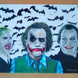 the joker trio, 12 x 16 inch, monsieur monstro,portrait drawings,canson paper,pencil color,12x16inch,GAL024186426