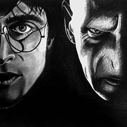 harry potter vs voldemort, 16 x 12 inch, monsieur monstro,portrait drawings,paintings for living room,ivory sheet,charcoal,16x12inch,GAL024186428