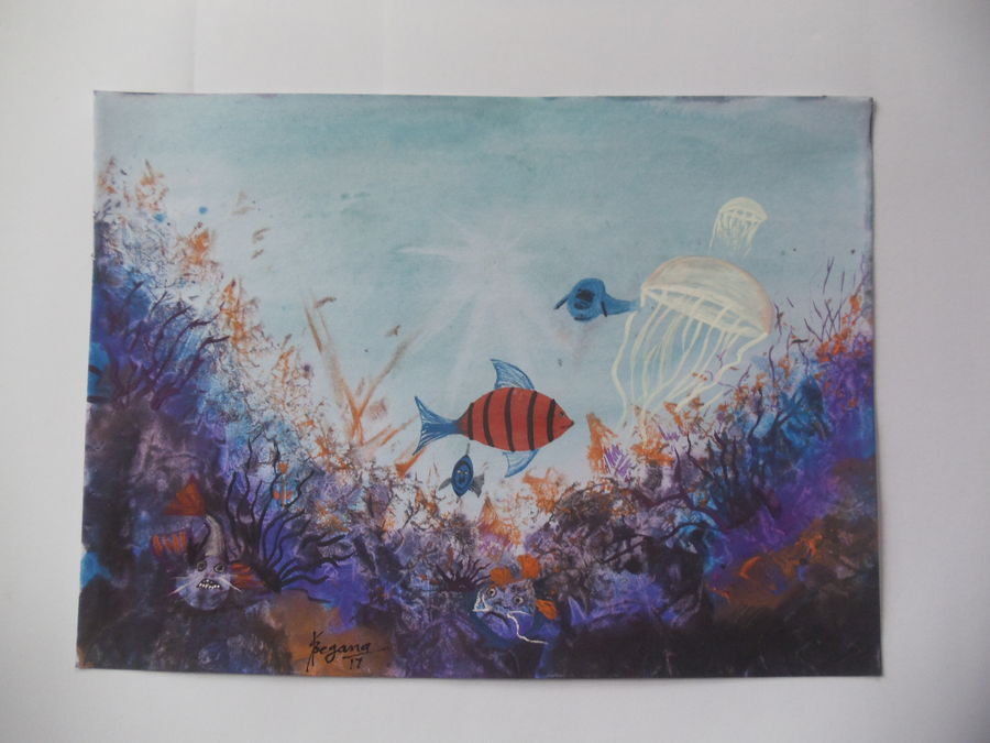 sea life, 11 x 8 inch, sunil begana,nature paintings,paintings for living room,paper,watercolor,11x8inch,GAL06546435Nature,environment,Beauty,scenery,greenery,fishes,jellyfish,water,flowers
