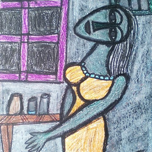the window , 22 x 28 inch, tanuj swarnakar,figurative paintings,paintings for dining room,thick paper,pastel color,22x28inch,GAL024566442