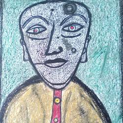 the man, 22 x 28 inch, tanuj swarnakar,figurative paintings,paintings for living room,thick paper,pastel color,22x28inch,GAL024566443
