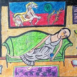 sleeping beauty , 28 x 22 inch, tanuj swarnakar,figurative paintings,paintings for bedroom,thick paper,pastel color,28x22inch,GAL024566444