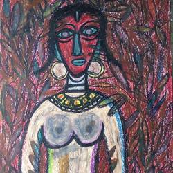 lady red , 22 x 28 inch, tanuj swarnakar,figurative paintings,thick paper,pastel color,22x28inch,GAL024566445