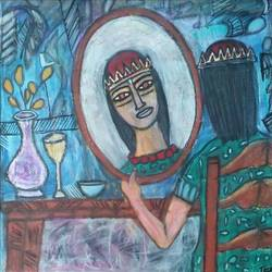 the queen , 24 x 24 inch, tanuj swarnakar,figurative paintings,paintings for bedroom,canvas,pastel color,24x24inch,GAL024566448