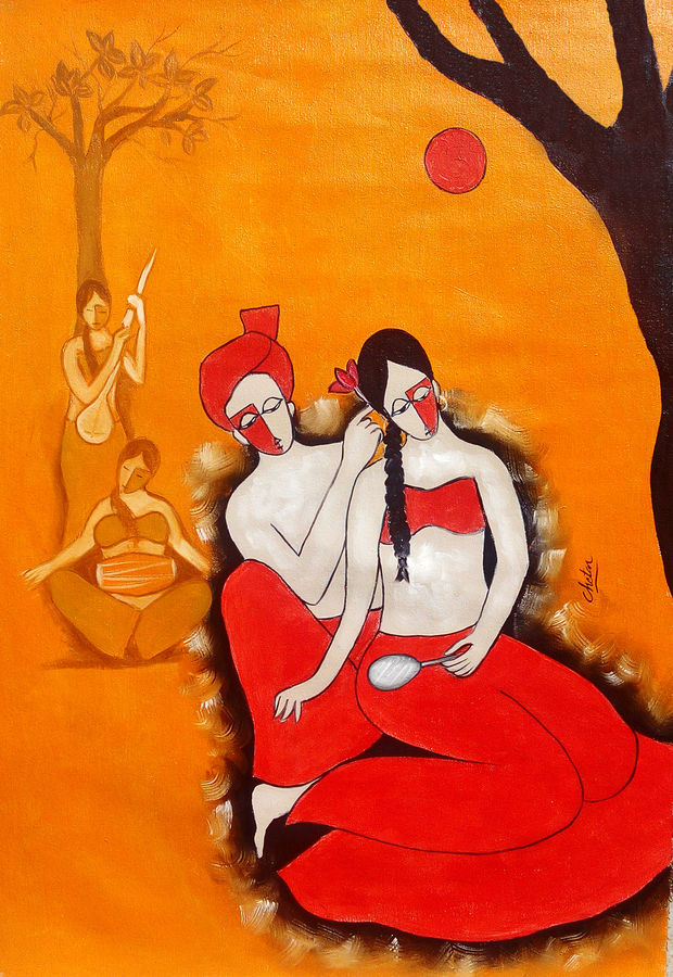 romantic moment, 23 x 35 inch, chetan katigar,figurative paintings,paintings for living room,canvas,oil,23x35inch,GAL0266645