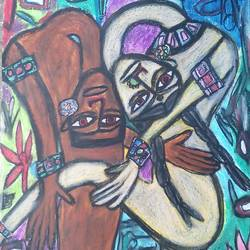 bending love , 22 x 28 inch, tanuj swarnakar,figurative paintings,paintings for bedroom,thick paper,pastel color,22x28inch,GAL024566454