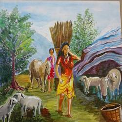 mountain scenery, 12 x 12 inch, rajyasree pal,figurative paintings,paintings for living room,canvas,acrylic color,12x12inch,GAL024606455