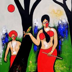 engaging soul , 22 x 34 inch, chetan katigar,figurative paintings,paintings for living room,vertical,canvas,acrylic color,22x34inch,GAL02666458